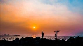 Vlieger van zonsondergang stock foto's
