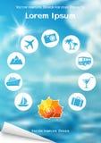 Vliegerontwerp met overzeese shell en reispictogrammen op blauwe achtergrond Stock Afbeeldingen