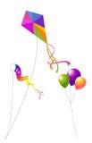Vliegers en Ballons Stock Foto