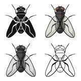 Vliegpictogram in beeldverhaalstijl op witte achtergrond wordt geïsoleerd die De voorraad vectorillustratie van het insectensymbo vector illustratie