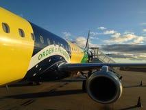Vliegtuig als Braziliaanse Vlag wordt geschilderd die Royalty-vrije Stock Fotografie