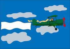 Vliegtuig, banner, tweedekker, vectorillustratie Stock Fotografie