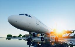 Vliegtuig bij de luchthaven Daglicht Bedrijfs en reisconcept het 3d teruggeven Royalty-vrije Stock Foto