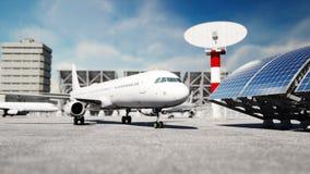 Vliegtuig bij de luchthaven Daglicht Bedrijfs en reisconcept het 3d teruggeven Stock Afbeeldingen