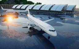 Vliegtuig bij de luchthaven Daglicht Bedrijfs en reisconcept het 3d teruggeven Royalty-vrije Stock Fotografie
