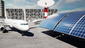 Vliegtuig bij de luchthaven Daglicht Bedrijfs en reisconcept het 3d teruggeven Stock Foto