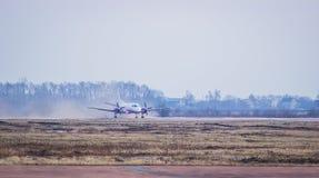 Vliegtuig bij de ruimte van het baanexemplaar Royalty-vrije Stock Foto's