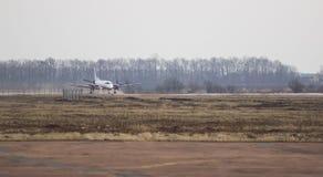 Vliegtuig bij de ruimte van het baanexemplaar Royalty-vrije Stock Afbeeldingen