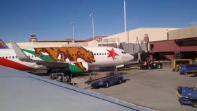 Vliegtuig bij een luchthaven Royalty-vrije Stock Afbeeldingen
