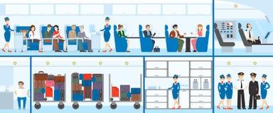Vliegtuig binnenlandse reeks vector illustratie
