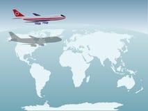 Vliegtuig boven de Aarde royalty-vrije stock afbeeldingen