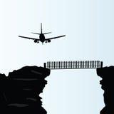 Vliegtuig boven de brug op de klippen vectorillustratie Stock Foto's