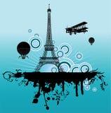 Vliegtuig boven Parijs Stock Afbeeldingen