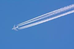 Vliegtuig contrail Royalty-vrije Stock Afbeelding
