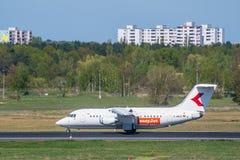 Vliegtuig D-AWUE easyJet Brits Ruimtevaart 146-200 bij Berlin Tegel-luchthaven Stock Afbeeldingen