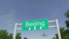 Vliegtuig dat aan de luchthaven van Peking aankomt Het reizen naar het conceptuele 3D teruggeven van China Stock Afbeelding