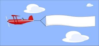 Vliegtuig dat bannervector trekt Stock Foto