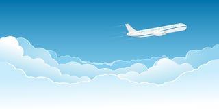 Vliegtuig dat boven de wolken vliegt vector illustratie