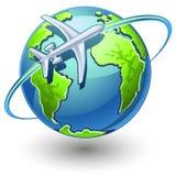 Vliegtuig dat de aarde vliegt Royalty-vrije Stock Afbeelding