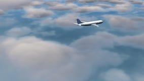 Vliegtuig dat door wolken vliegt royalty-vrije illustratie
