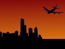 Vliegtuig dat in Melbourne aankomt Stock Foto