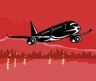Vliegtuig dat met bouwstijl opstijgt Royalty-vrije Stock Foto