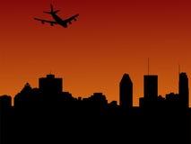 Vliegtuig dat in Montreal aankomt royalty-vrije illustratie