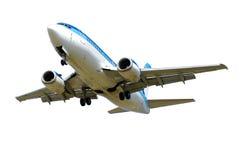 Vliegtuig dat op een witte achtergrond wordt geïsoleerd Stock Foto