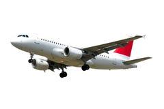 Vliegtuig dat op witte achtergrond wordt geïsoleerdr Stock Afbeeldingen