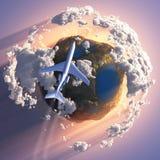 Vliegtuig dat over de aarde vliegt vector illustratie