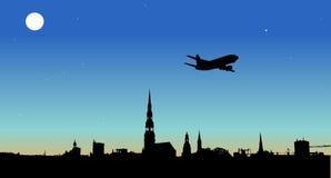 Vliegtuig die over de stad vliegen stock illustratie