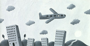 Vliegtuig dat over de stad vliegt stock illustratie