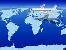Vliegtuig dat over de wereld vliegt Royalty-vrije Stock Afbeeldingen
