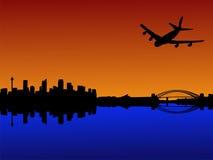 Vliegtuig dat in Sydney aankomt Royalty-vrije Stock Fotografie