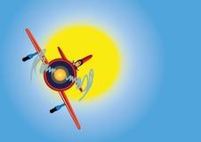 Vliegtuig in de blauwe hemel Stock Illustratie