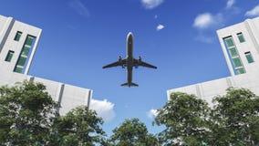 Vliegtuig in de hemel Stock Afbeelding