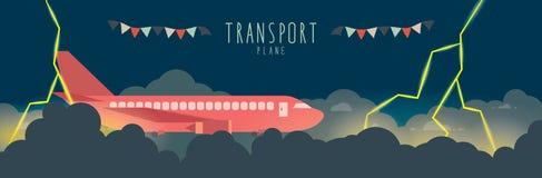 Vliegtuig in de hemel dat slechte weer (vervoer) Royalty-vrije Stock Afbeelding