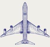 Vliegtuig. De stijl van de krabbel Stock Afbeelding