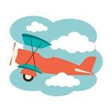 Vliegtuig in de Wolken Stock Afbeelding