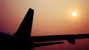 Vliegtuig in de zon Stock Fotografie
