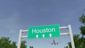 Vliegtuig die aan de luchthaven van Houston aankomen Het reizen naar de conceptuele 4K animatie van Verenigde Staten stock videobeelden