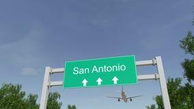 Vliegtuig die aan de luchthaven van San Antonio aankomen Het reizen naar de conceptuele 4K animatie van Verenigde Staten stock footage