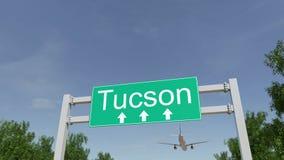 Vliegtuig die aan de luchthaven van Tucson aankomen Het reizen naar het conceptuele 3D teruggeven van Verenigde Staten Royalty-vrije Stock Afbeeldingen