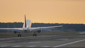 Vliegtuig die bij de vroege ochtend landen stock footage