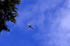 Vliegtuig die in blauwe hemel met wolken vliegen Royalty-vrije Stock Foto