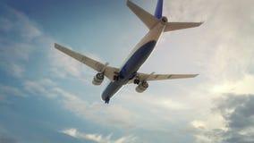 Vliegtuig die Boedapest Hongarije landen royalty-vrije illustratie