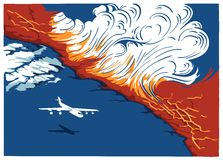 Vliegtuig die boven de vulkaan vliegen Stock Foto's