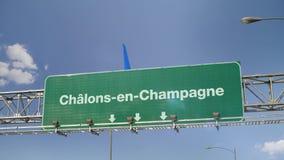 Vliegtuig die chalons-Engels-Champagne landen frans stock illustratie