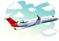 Vliegtuig die in de hemel bij dag vliegen royalty-vrije illustratie