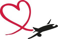 Vliegtuig die een hart trekken Royalty-vrije Stock Afbeelding
